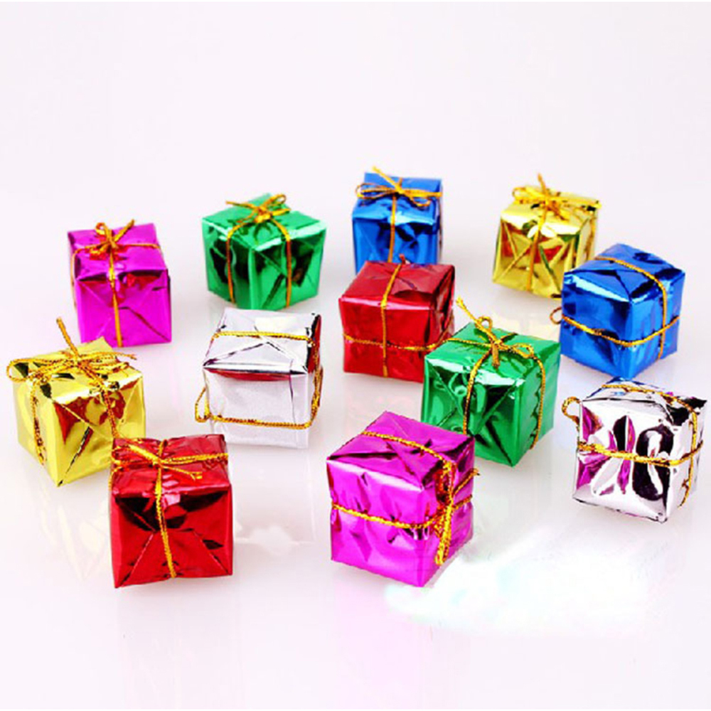 24PCS Set Glistening Gift Boxes With Gold Wire Decoration Assorted Colors Miniature Christmas Ornaments Christmas Tree Pendant
