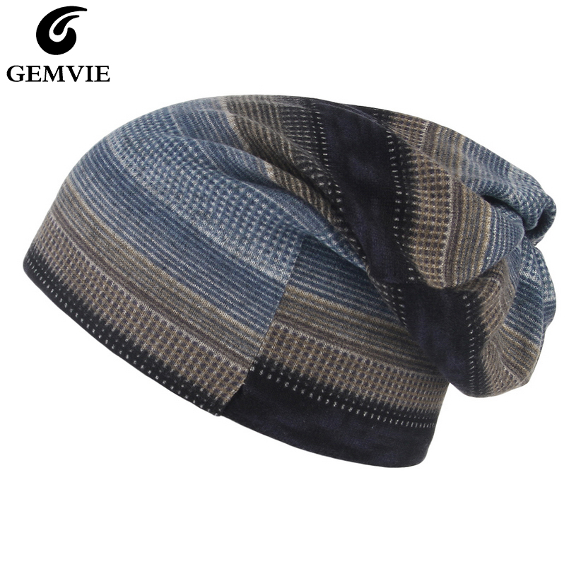 GEMVIE Unisex New Men's Baggy Beanie Cap Scarf Mask Dual Use Stretch Soft Thin Women Winter Knitted Cap Skullies