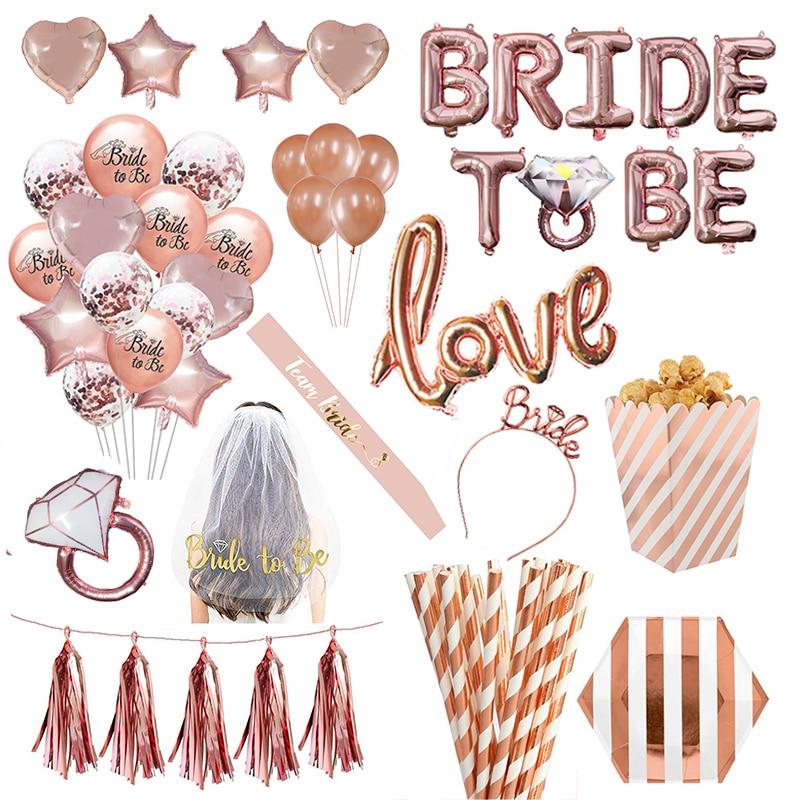 Dekoracje ślubne różowe złoto litery Bride To Be balon foliowy welon panny młodej Sash z pałąkiem na głowę wieczór panieński zaopatrzenie na wieczór panieński