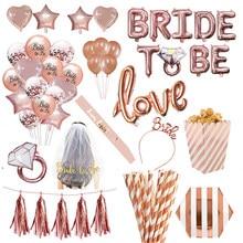 Wedding Decorations Rose Gold Bride To Be Letter Foil Ballon Bride Veil Sash Headband Bridal Shower Bachelorette Party Supplies