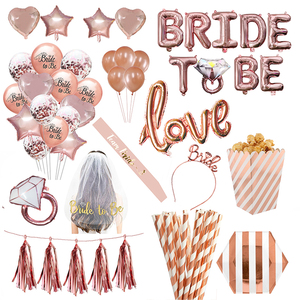 Wedding Decorations Rose Gold Bride To Be Letter Foil Balloon Bride Veil Sash Headband Bridal Shower Bachelorette Party Supplies(China)