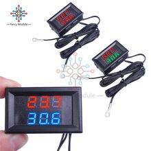 Diymore dc 4 -28v led duplo dígito termômetro com 2 ntc 10k sensor termostato sonda monitor de temperatura testador para carro interno