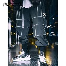Unsettle harajuku calça joggers hip hop reflexivo calças japonesas streetwear fino sweatpant