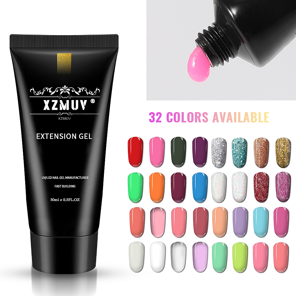 XZM 32 colors 30ml gel nail polish extender acrylic quick extension nail tool for fashion nail art for women