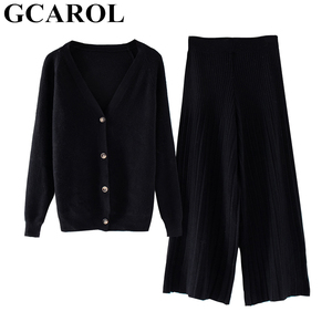 Image 3 - Gcarol新しい女性のセットvネックカーディガンとワイドレッグパンツ2個セットニット弾性ウエストパンツレジャー秋の冬服