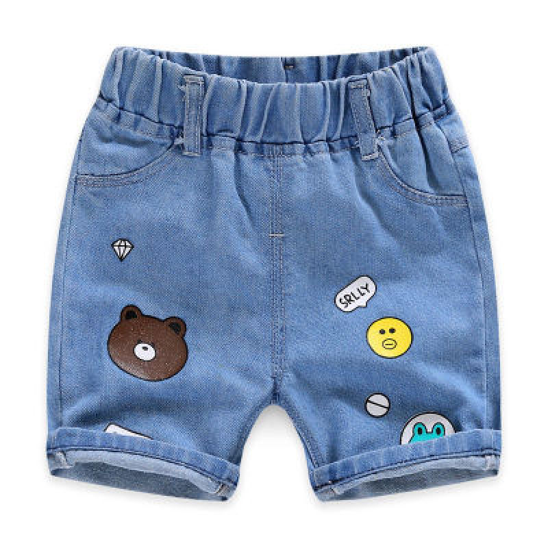 2020 Children Clothing Kids Jeans Summer Shorts Casual Hole Jeans Smiley Cowboy Baby Boy Clothes Cartoon Boys Denim Pants 2-8Y 6