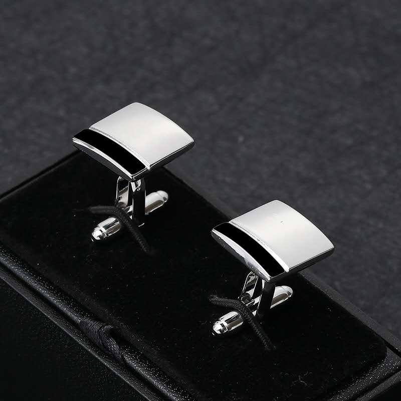 Simple proposal square black and white stitching French men's business shirt cufflinks, marriage, high-quality  gift accessories