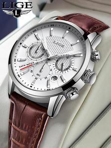 2020 ceasuri noi mens lige top brand piele cronograf impermeabil sport data automată