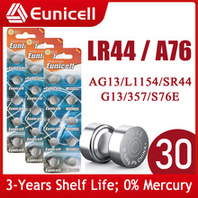 Eunicell 30PCS LR44 AG13 303 A76 357 SR44 1.5V Button Battery SR44SW V13GA for Watch Calculators Toys 155mAh Coin Cell Batteries