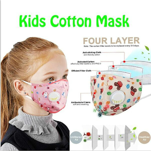 PM2.5 Face Mask Kids  Mask Cute Breathable Valve Mouth Mask Filter Pad Pollution Activated Carbon Filter Summer Cotton Masks 5