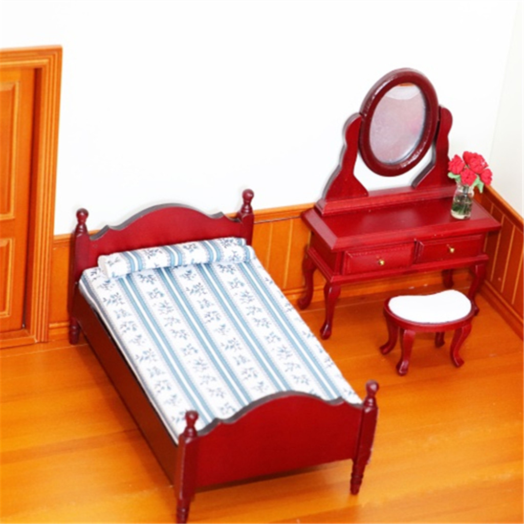 Toys Doll Accessory 1:12 Mini Dollhouse Furniture Bed Set Miniature Living Room Kids Pretend Play Toy Doll Bed 2019 W919