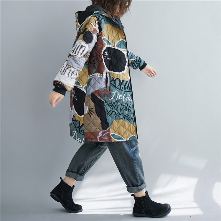 Women Autumn Winter Vintage Graffiti Loose Quilted Coat Plus Size Fall Female Long Padded Ployester Faux Cotton Coat Oversize