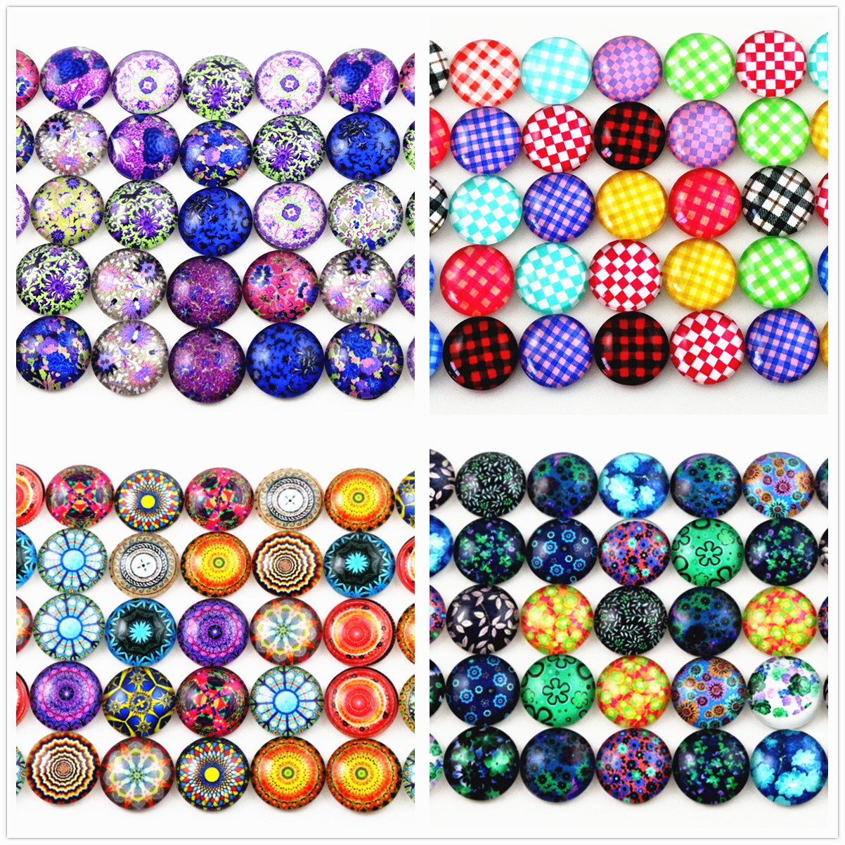 Hot Sale 50pcs 12mm  14 Style New Fashion Mixed Flower Handmade Photo Glass Cabochons Pattern Domed Jewelry Accessories Supplies