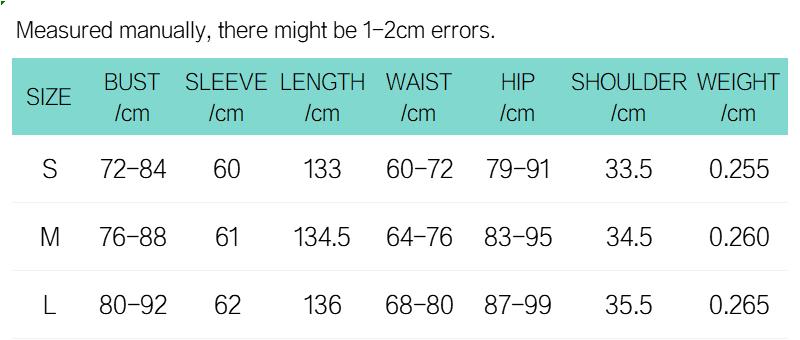连体裤英文尺码表