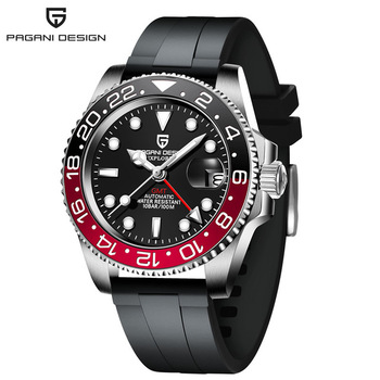 2020 New PAGANI DESIGN Luxury Men GMT Automatic Machinery Watch 40MM Ceramic bezel Jubilee Strap Sapphire 100M Waterproof Clock - Black red 1