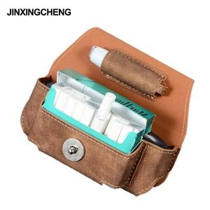 Image 1 - JINXINGCHENG funda portátil de cuero con gancho abatible para IQOS 3,0, 5 colores, funda cartuchera, Funda de cuero, doble bolsa, accesorios