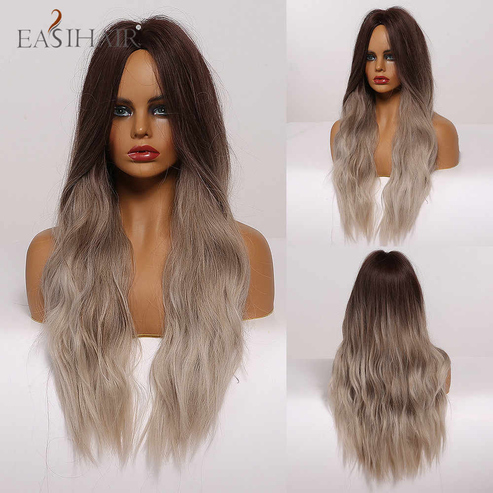 Easihair longo ondulado marrom perucas sintéticas para afro feminino meio parte penteado moda festa falso cabelo resistente ao calor perucas de fibra