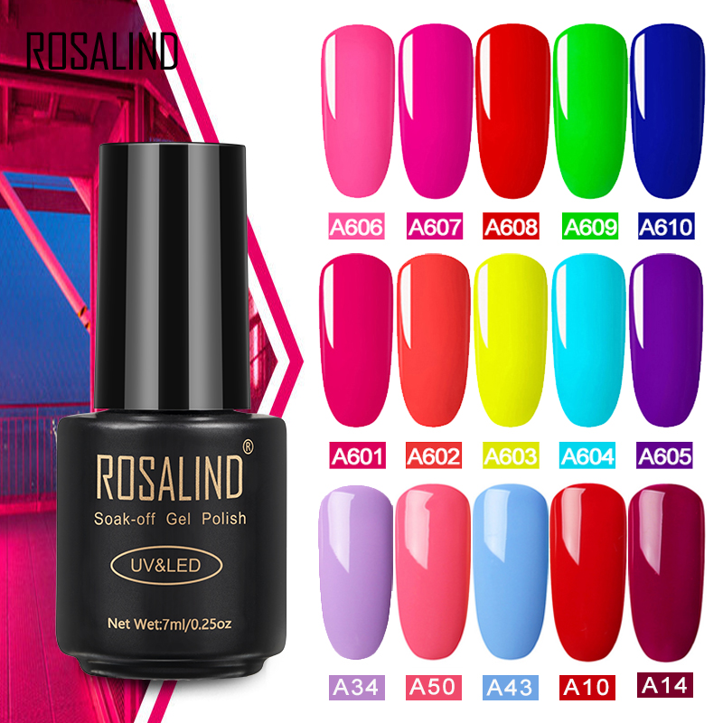 ROSALIND Gel Varnish Hybrid Neon Nail Gel Polish Set For Manicure Semi Permanent UV LED Primer Top Coat Nail Art Gel Nail Polish