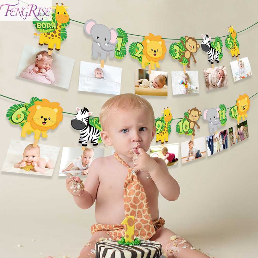Dier Banner Gelukkige 1st Verjaardag Party Decor Kids Jungle Safari Party Decor Ballonnen Servies Feestartikelen Baby Shower Gifts