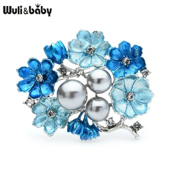 Wuli&baby Big Pearl Blue Enamel Brooches Women Alloy Rhinestone Weddings Banquet Flower Brooch Pins Gifts chic faux pearl rhinestone number shape brooch for women
