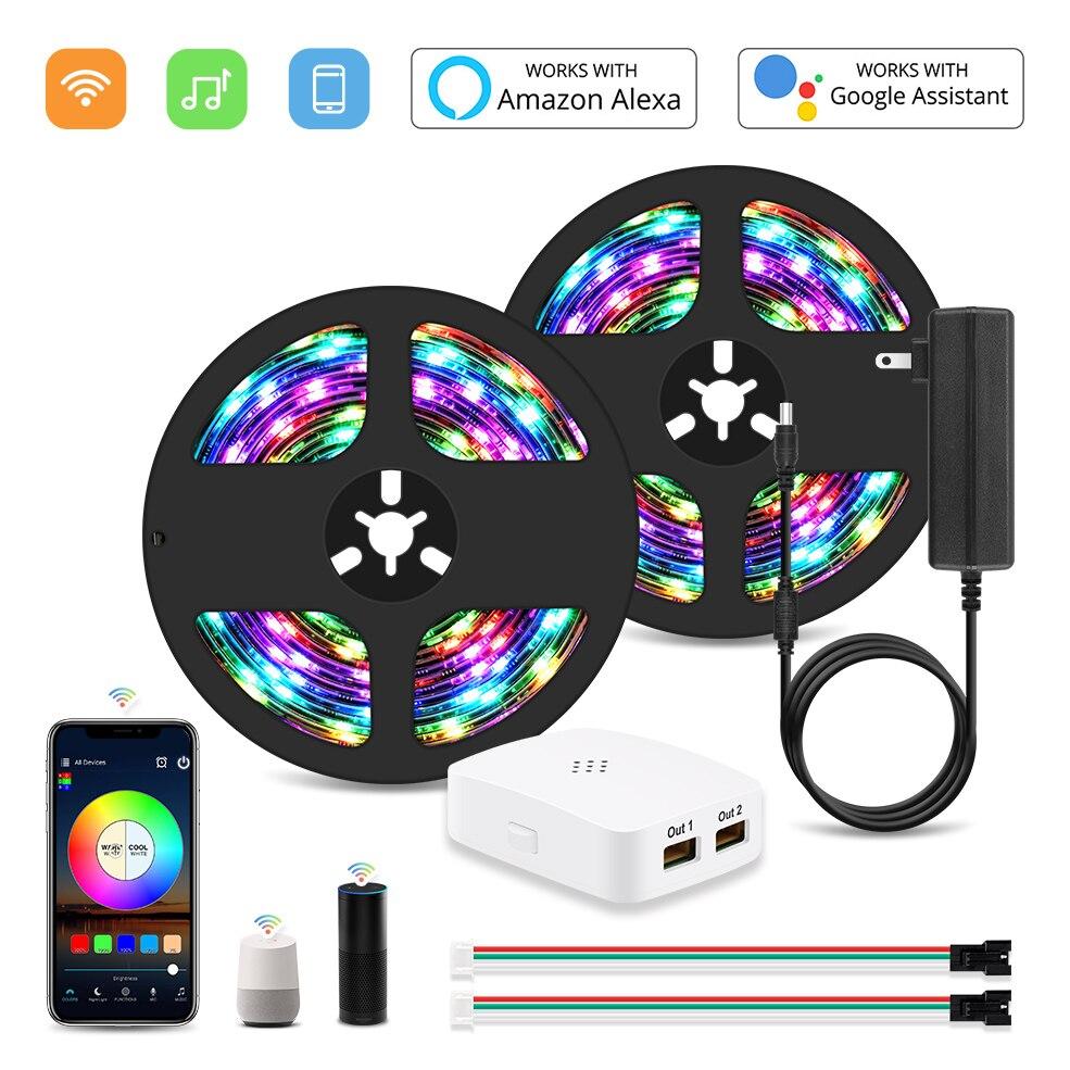 RGB IC Led Tape DC 12V Wifi Addressable WS2811 Smart Pixel Led Strip Light Kit Magic 5M 10M 15M 20M 5050 Home Wifi Voice Control