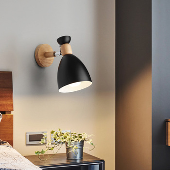 Nordic Wood Wall Lights Bedroom Beside LED Lights Macaroon Modern E27 Wall Lamps LED Restaurant Bar Cafe Lighting