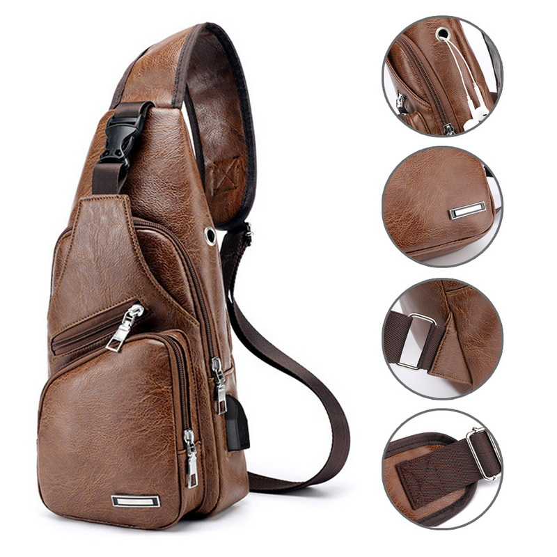 SHUJIN Chest Bag Men PU Leather Chest Pack USB Backbag With Headphone Hole Functional Travel Organizer Male Sling Waist Bag in Waist Packs from Luggage Bags