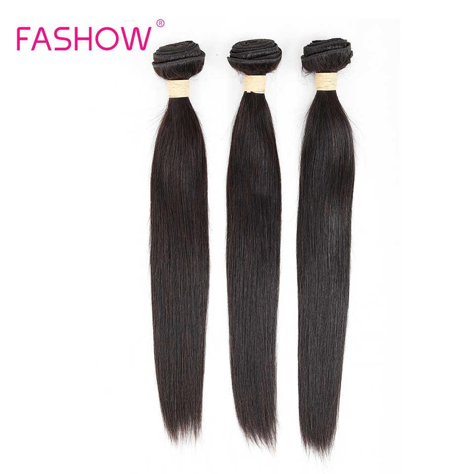 Fashow pelo indio crudo recto 3 paquetes cabello humano tejido Remy cabello tejido 18 20 22 24 26 28 recto color Natural de la trama