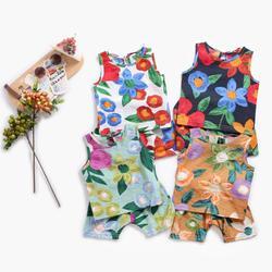 Летние комплекты детской одежды sanluтоз, хлопковые комплекты для младенцев, 2 предмета, с цветочным принтом, без рукавов, одежда для маленьких...