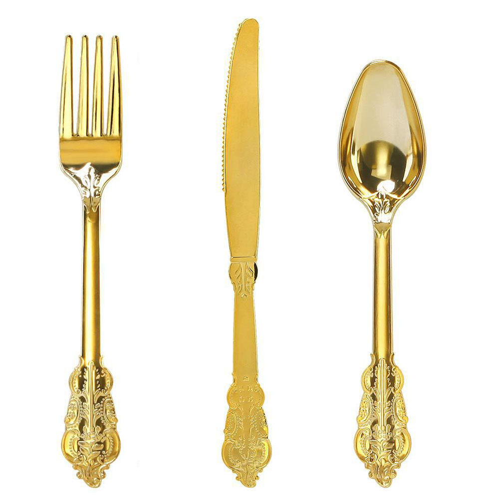 New Steak Retro Gold Plated Knife And Fork Disposable Plastic Tableware Western Food Three-piece Food Grade Thickening Spoon