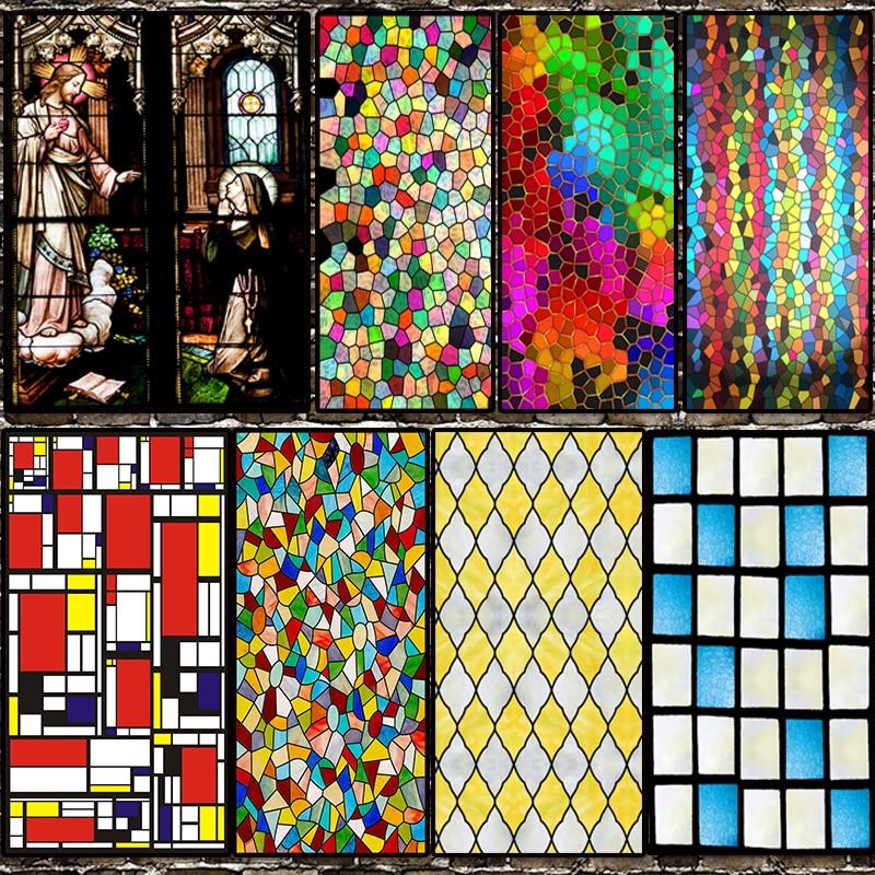 Tamaño personalizado película de vidrio estática se adhiere clásico europeo cristiano Jesús Iglesia manchado ventana patrón hogar tienda decoración 40cm x 60cm