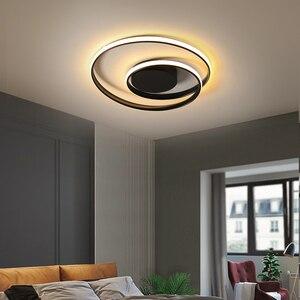 Image 2 - 現代の天井照明ledランプリビングルーム白黒色表面実装天井ランプデコAC85 265V