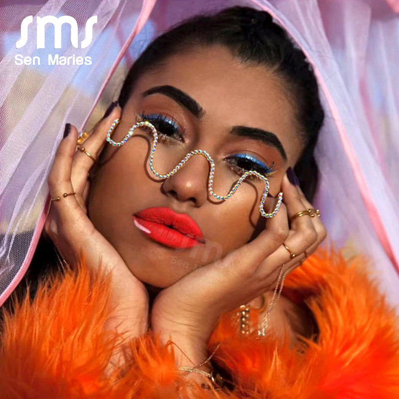 Fashion Diamond Glasses Frames For Women Luxury Half Frame Sunglasses Women Rhinestone Eyeglasses Wave Frames Eyewear Decoration