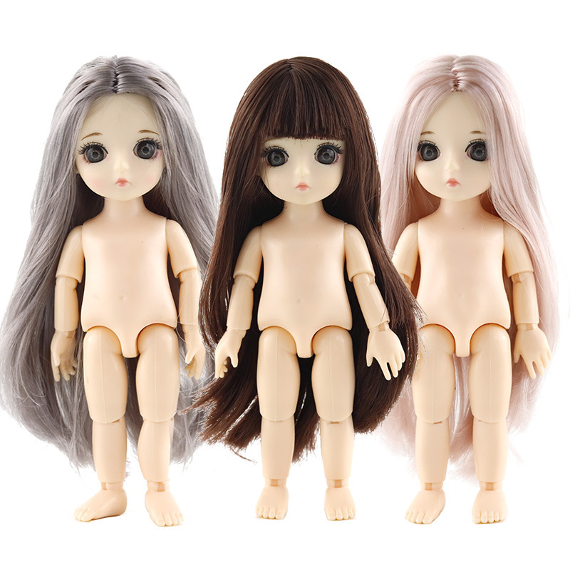 New 13 Movable Jointed Dolls Toys With Free Stand Mini 16cm BJD Baby Girl Boy Doll Naked Nude Body Dolls Toy For Girls Gift