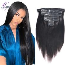 Современный показ волос перуанские Remy прямые волосы на клипсах для наращивания 120 г полный набор головок 8 шт. наращивание волос