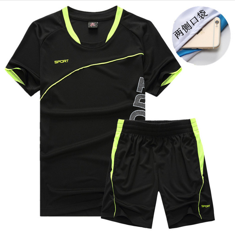 Sports Casual Short Sleeve Set Men's Running Training Suit Wicking Breathable Workout Clothes Crew Neck Short Sleeve Athletic Pa