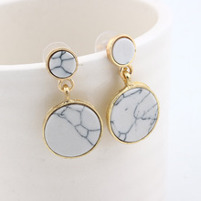 Fashion Round Geometric Marbled White Black Simple Design Zinc Alloy Drop Earrings for Women Christmas Gift Hot Popular