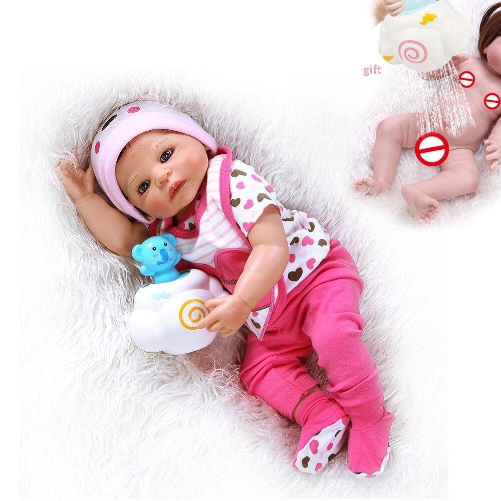 NPK 55CM 55CM volle körper silikon vinyl baby reborn puppen neugeborenen süße mädchen bad spielzeug dusche puppe Anatomisch richtige