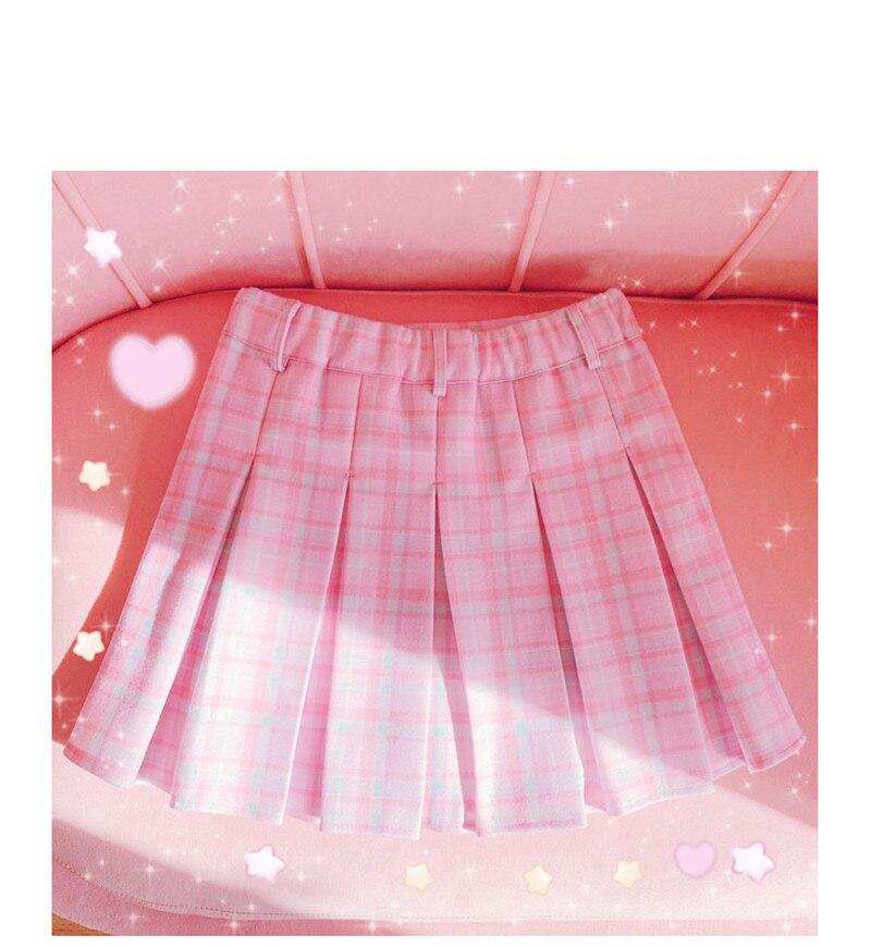 High-Waist Heart Pink Pleated Skirt 2