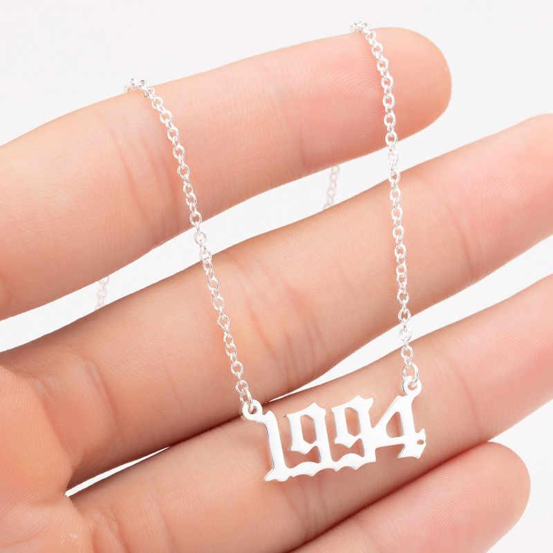 ส่วนบุคคลปีจำนวนสร้อยคอผู้หญิง CUSTOM เกิดปี 1994 1995 1996 วันเกิดของขวัญจาก 1980 ถึง 2019 แฟชั่นเครื่องประดับ