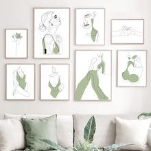 Настенные художественные абстрактные линии для девочек скандинавские