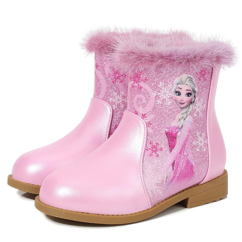 Kids Elsa Princess Shoes Children Cartoon Boots Leather Sequin Winter Fashion Boots Girls Genuine Wool Warming Knee Boots