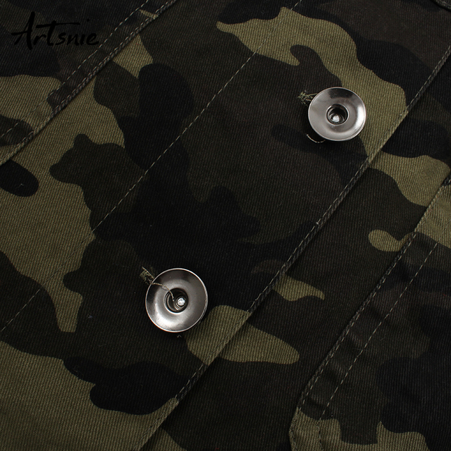 Artsnie camouflage denim women jacket turn down collar long sleeve double pockets coats casual jeans ripped short jackets female