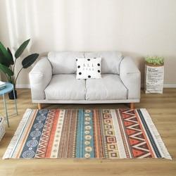 Grand tapis en macramé, ethnique Boho, antidérapant, pour salon, chambre à coucher, pour la maison, motif de prière polaire, noeud à la main, en lin