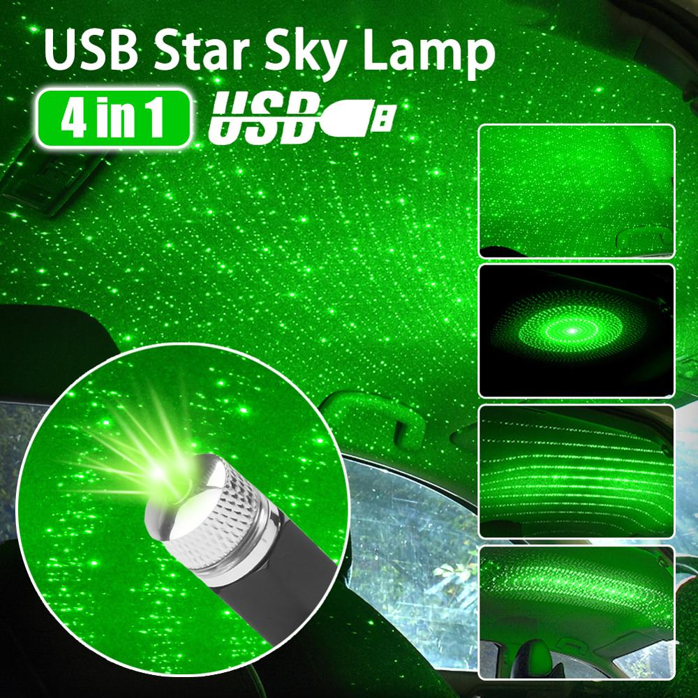 4 In 1 USB Car Roof Atmosphere Star Sky Lamp Ambient Star Light LED Projector Purple Night Light Multiple Lighting Effects