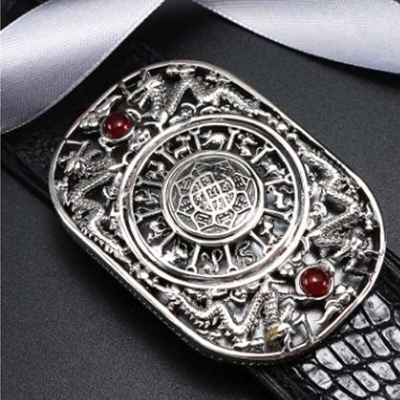 LINSHE Belt Male 925 Sterling Silver Jade Crocodile Leather Business Casual Men Leather Belt Genuine Goods Belt Tide