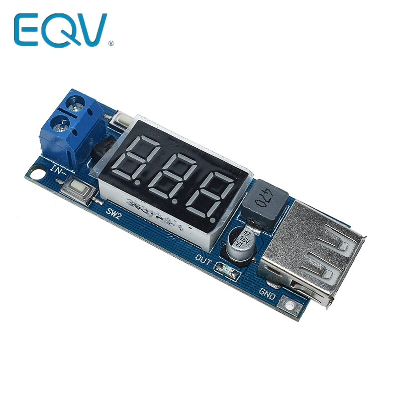 EQV DC-DC Step Down Modul Zwei-draht Voltmeter 5 V USB Ladegerät oder Netzteil Eingang 4,5 V- 40V Ausgang 5 V/2A