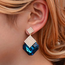 HOCOLE Fashion Crystal Earrings For Women 2019 Statement Geometric Square Gold Rhinestone Drop Earring Wedding Party Jewelry