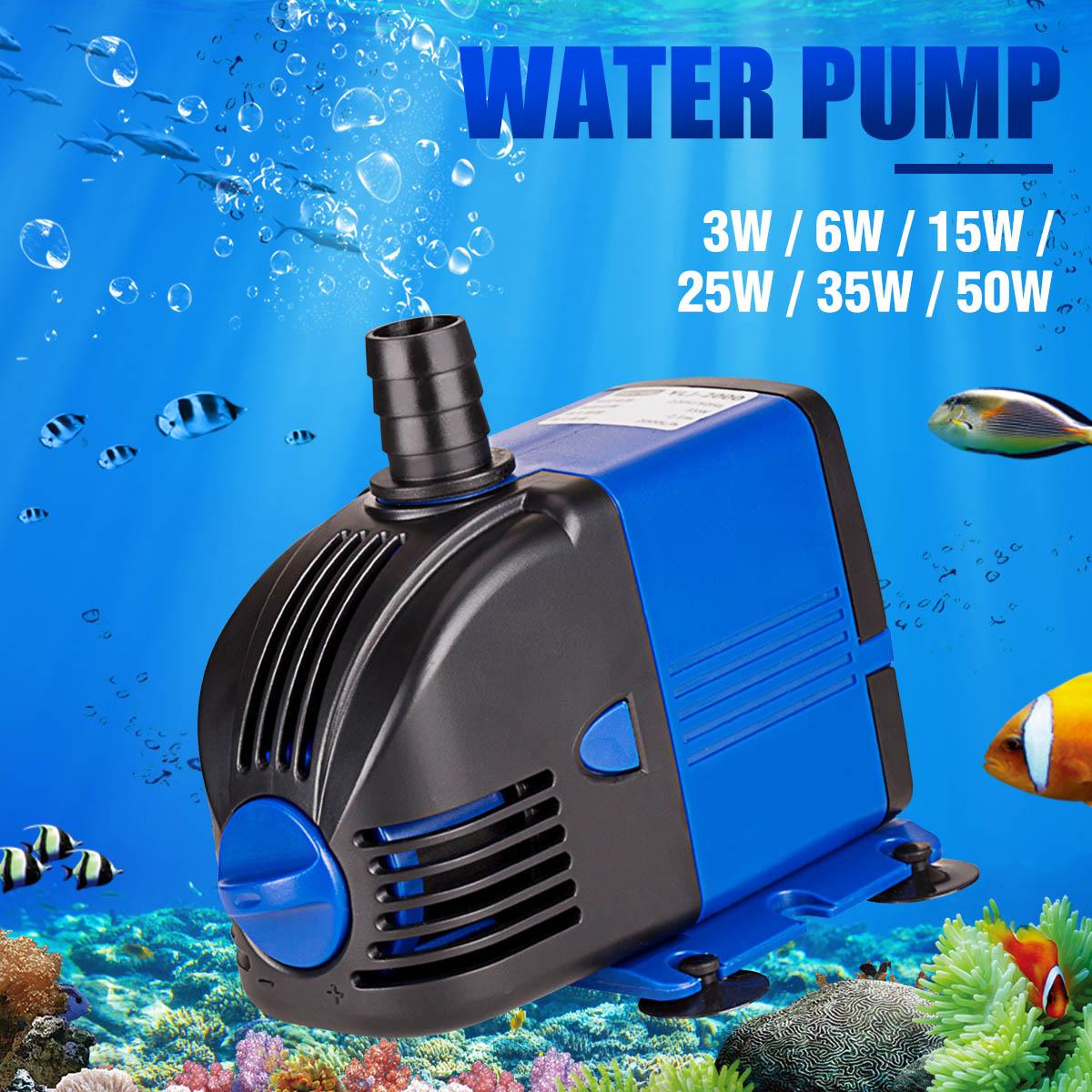 New Ultra-Quiet Submersible Water Fountain Pump Filter Fish Pond Aquarium Water Pump Fish Tank Power Head 15/25/35/50W