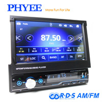 "1 Din Retractable Car Radio Mirror Link Video MP5 Player AM FM RDS USB TF Aux 7"" Touch Screen Stereo System Head Unit PHYEE T100"